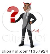 Clipart Of A 3d Young Black Devil Businessman Holding A Question Mark On A White Background Royalty Free Illustration