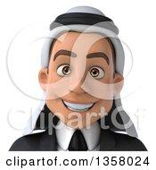 3d Arabian Business Man Avatar On A White Background