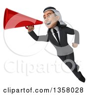 Clipart Of A 3d Arabian Business Man Flying And Using A Megaphone On A White Background Royalty Free Illustration