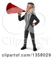 Clipart Of A 3d Arabian Business Man Using A Megaphone On A White Background Royalty Free Illustration