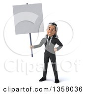 Clipart Of A 3d Arabian Business Man Holding A Blank Sign On A White Background Royalty Free Illustration