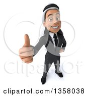 Clipart Of A 3d Arabian Business Man Holding Up A Thumb On A White Background Royalty Free Illustration
