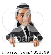 Clipart Of A 3d Arabian Business Man Giving A Thumb Down Over A Sign On A White Background Royalty Free Illustration