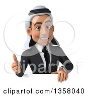 Clipart Of A 3d Arabian Business Man Giving A Thumb Up Over A Sign On A White Background Royalty Free Illustration