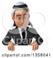 Clipart Of A 3d Arabian Business Man Looking Down Over A Sign On A White Background Royalty Free Illustration
