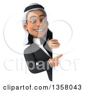 Clipart Of A 3d Arabian Business Man Pointing Around A Sign On A White Background Royalty Free Illustration