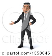 Clipart Of A 3d Arabian Business Man Presenting On A White Background Royalty Free Illustration