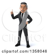 Clipart Of A 3d Arabian Business Man Holding Up A Finger On A White Background Royalty Free Illustration
