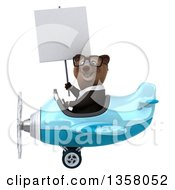 Clipart Of A 3d Bespectacled Brown Business Bear Aviator Pilot Holding A Blank Sign And Flying A Blue Airplane On A White Background Royalty Free Illustration