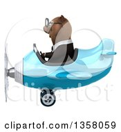 Clipart Of A 3d Bespectacled Brown Business Bear Aviator Pilot Flying A Blue Airplane On A White Background Royalty Free Illustration