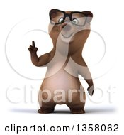 Clipart Of A 3d Bespectacled Brown Bear Holding Up A Finger On A White Background Royalty Free Illustration