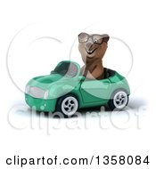 Clipart Of A 3d Bespectacled Brown Bear Driving A Green Convertible Car On A White Background Royalty Free Illustration
