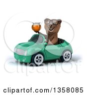 Clipart Of A 3d Bespectacled Brown Bear Holding A Honey Jar And Driving A Green Convertible Car On A White Background Royalty Free Illustration