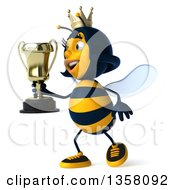 Clipart Of A 3d Queen Bee Walking And Holding A Trophy On A White Background Royalty Free Illustration