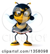 Clipart Of A 3d Bespectacled Female Bee Pouting And Reading A Book On A White Background Royalty Free Illustration