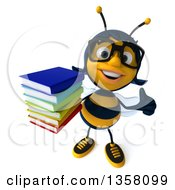 Clipart Of A 3d Bespectacled Female Bee Holding Up A Thumb And A Stack Of Books On A White Background Royalty Free Illustration