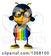 Clipart Of A 3d Bespectacled Female Bee Pouting And Carrying Books On A White Background Royalty Free Illustration