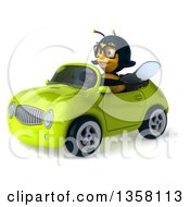 Clipart Of A 3d Bespectacled Female Bee Driving A Green Convertible Car On A White Background Royalty Free Illustration