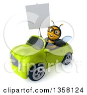 3d Bespectacled Male Bee Holding A Blank Sign And Driving A Green Convertible Car On A White Background