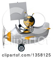 3d Male Bee Aviator Pilot Wearing Sunglasses Holding A Blank Sign And Flying A White And Yellow Airplane On A White Background