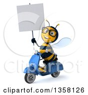 3d Male Bee Holding A Blank Sign And Driving A Blue Scooter On A White Background