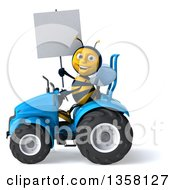 Clipart Of A 3d Male Bee Holding A Blank Sign And Operaring A Blue Tractor On A White Background Royalty Free Illustration
