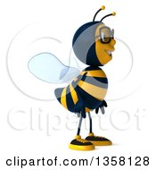 3d Bespectacled Male Bee On A White Background