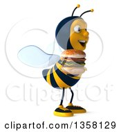 3d Male Bee Holding A Double Cheeseburger On A White Background