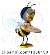 3d Male Bee Wearing Sunglasses And Holding A Pizza On A White Background