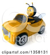 3d Male Bee Driving A Yellow Convertible Car On A White Background