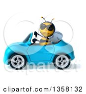3d Male Bee Wearing Sunglasses Giving A Thumb Down And Driving A Blue Convertible Car On A White Background