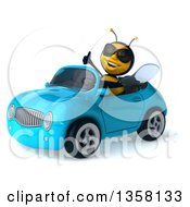 3d Male Bee Wearing Sunglasses Giving A Thumb Up And Driving A Blue Convertible Car On A White Background
