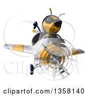 3d Male Bee Aviator Pilot Wearing Sunglasses Giving A Thumb Down And Flying A White And Yellow Airplane On A White Background