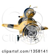 Clipart Of A 3d Bespectacled Male Bee Aviator Pilot Flying A Yellow And Black Airplane On A White Background Royalty Free Illustration