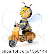 3d Male Bee Driving A Scooter On A White Background