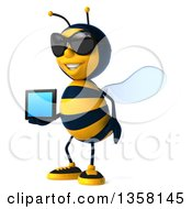 3d Male Bee Wearing Sunglasses And Holding A Tablet Computer On A White Background