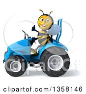 3d Male Bee Giving A Thumb Up And Operaring A Blue Tractor On A White Background