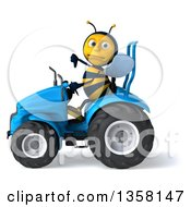 Clipart Of A 3d Male Bee Giving A Thumb Down And Operaring A Blue Tractor On A White Background Royalty Free Illustration