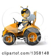 3d Male Bee Wearing Sunglasses And Operaring An Orange Tractor On A White Background