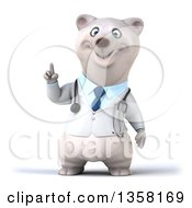 Clipart Of A 3d Doctor Polar Bear Holding Up A Finger On A White Background Royalty Free Illustration