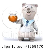 Clipart Of A 3d Doctor Polar Bear Holding A Honey Jar On A White Background Royalty Free Illustration