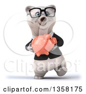 Clipart Of A 3d Bespectacled Business Polar Bear Walking And Holding A Piggy Bank On A White Background Royalty Free Illustration