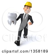 Clipart Of A 3d Young White Male Architect Holding A Tooth And Speed Walking On A White Background Royalty Free Illustration