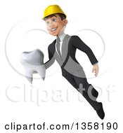 Clipart Of A 3d Young White Male Architect Holding A Tooth And Flying On A White Background Royalty Free Illustration