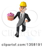Clipart Of A 3d Young White Male Architect Holding A Cupcake And Sprinting On A White Background Royalty Free Illustration