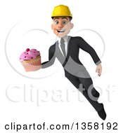 Clipart Of A 3d Young White Male Architect Holding A Cupcake And Flying On A White Background Royalty Free Illustration