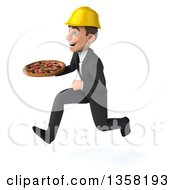 Clipart Of A 3d Young White Male Architect Holding A Pizza And Sprinting On A White Background Royalty Free Illustration