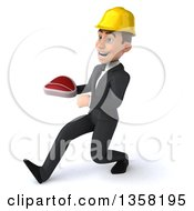 Clipart Of A 3d Young White Male Architect Holding A Beef Steak And Speed Walking On A White Background Royalty Free Illustration