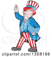 Clipart Of A Cartoon Uncle Sam In An American Patiotic Suit Holding Up A Finger Royalty Free Vector Illustration by patrimonio