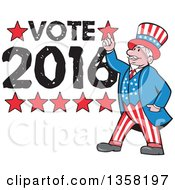 Clipart Of A Cartoon Uncle Sam In An American Patiotic Suit Holding Up A Finger Over Vote 2016 Text Royalty Free Vector Illustration